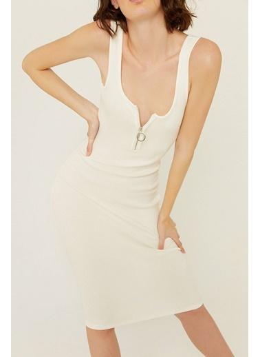 Rue Fermuar Detaylı Vücuda Oturan Elbise Ekru